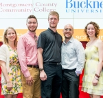 Bucknell Transfer:  Five Montgomery County Community College graduates were accepted for Fall 2014 transfer to Bucknell University with full tuition scholarships. Pictured  (from left) are students Mallory Murphy, Brian Hipwell, Ken Stephon, David Reedel, and Lydia Crush. Photo by Sandi Yanisko