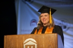 Grad 2: Michelle Sikora, Lansdale, was inspiring during her remarks as student commencement speaker. Photo by John Welsh