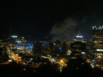 Smoke clearing after the fireworks from a Pirates game.