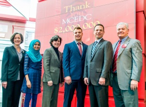 PHOTO: Montgomery County Community College (MCCC) announced the receipt of the largest private gift in its history—$2 million from the Montgomery County Economic Development Corporation (MCEDC)—during a celebration on Jan. 30. Making the announcement were (from left) Montgomery County Commissioner Val Arkoosh; MCCC Nursing student Mis Kulsum; MCCC President Dr. Karen A. Stout; MCCC Engineering Science student Nick Silva; Montgomery County Commissioner Chairman Josh Shapiro; and MCCC Board of Trustees Chairman Michael J. D'Aniello. Photo by Sandi Yanisko