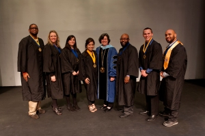 PHOTO: Dr. Karen A. Stout (center) stands with officers from Montgomery County Community College's Alpha Kappa Zeta chapter of Phi Theta Kappa. Student officers include (from left) Reginald Harris, secretary; Michelle Sikora, vice president of service; Jennifer Cutler, vice president of scholarship; Mamata Tharima, president; Raymond Straughter, vice president of fellowship; Thomas DeLucia, secretary; and Wilfredo Montijo, vice president of leadership.   Photo by John Welsh