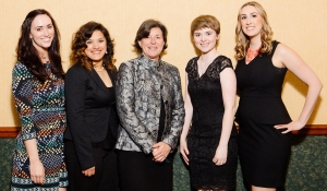 PHOTO: Montgomery County Community College President Dr. Karen A. Stout (center) stands with the College's All-Pennsylvania Academic Team honorees: (from left) Caitlin Moser, Angelina Sirak, Kendra Houck and Heidi Hunsberger. The students were honored during a banquet and award ceremony on April 13 in Harrisburg. Photo courtesy of the PA Commission for Community Colleges.