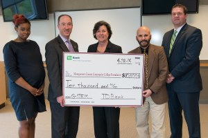 The TD Charitable Foundation, the charitable giving arm of TD Bank, America's Most Convenient Bank®, recently donated $10,000 to Montgomery County Community College in support of its G-STEM (Green Science, Technology, Engineering and Math) summer program. From left, Dominique Goss, VP, Community Relations Manager, TD Foundation; Geoffrey Brandon, SVP, Regional Vice President, TD Bank; Dr. Karen A. Stout, President of Montgomery County Community College; Dr. David DiMattio, MCCC's Dean of STEM; and David Rink, TD Bank Store Manager, Whitpain Store.