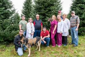 PHOTO: Members of the Student Nurses Club (SNC) and Student Veterans Organization (SVO) from Montgomery County Community College (MCCC) participated in the selection of the 2015 White House Christmas tree at Bustard's Christmas Tree Farm in Lehighton, Pa. on Sept. 30. Pictured (from left) Dansel Landingin, SVO, Psychology major, with Trigger; Hector, Figueroa, SVO president, Social Sciences major; Kristin Davies, Nursing instructor; Jay Bustard, Bustard's Christmas Trees co-owner; Aaron Hull, SVO, Life Sciences major; Courtney Bagwell, SNC, Nursing major; Kathryn Hall, SNC, Nursing major; Joe Long, SVO and Veterans Services assistant, Engineering major; Dr. Linda Roy, Nursing program director; and Michael Brown, Veterans Services coordinator. Photo by Sandi Yanisko