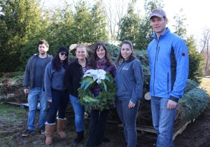 PHOTO: Members of the Student Nurses Club (SNC) and Student Veterans Organization (SVO) from Montgomery County Community College (MCCC) tagged and donated 25 trees at Bustard's Christmas Tree Farm in Lansdale on Dec. 5. Pictured (from left) Hector, Figueroa, SVO president, Social Sciences major; SNC members and Nursing majors Leigh Ronnan, Aimee, Augstine, Emily Odom and Liz Martinez; and Joe Long, SVO and Veterans Services assistant, Engineering major. Photo by Alana J. Mauger