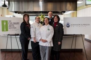 The Culinary Arts Institute (CAI) of Montgomery County Community College (MCCC) and Johnson & Wales University celebrated a new partnership agreement that will allow CAI graduates to seamlessly transfer to Johnson & Wales to earn their baccalaureate degrees. From left:  MCCC Vice President of Academic Affairs and Provost Dr. Victoria Bastecki-Perez, CAI Director Chef Francine Marz, CAI student Jacqueline Ramos, MCCC Interim President Dr. James Linksz and Johnson & Wales Pennsylvania Admissions Representative Sharon Macko. Photo by Sandi Yanisko