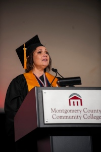 JACQUELINE RAMOS: Jacqueline Ramos, Hatfield, provided the student address at Montgomery County Community College's 49th Commencement ceremony on May 19, 2016. She graduated with an A.A.S. in Baking and Pastry Arts and a Certificate in Culinary Arts. Photo by John Welsh
